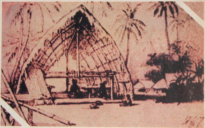 Жилище папуасов, сделанное из деревьев и листьев. Н.Н. Миклухо-Маклай, 1870-е гг. | Фото: ru.wikipedia.org.